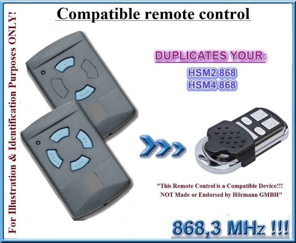 Compatible with Hormann HSM2 HSM4 Blue Button Remote control 868.3MHz clone remote control duplicator car alarm remote button cut control panel buttons button latch - title=