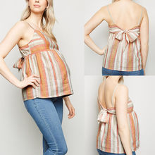 Pregnant women strapless halter bow camisole pregnant women striped print cotton casual sling jacket comfortable soft vest 2019(China)