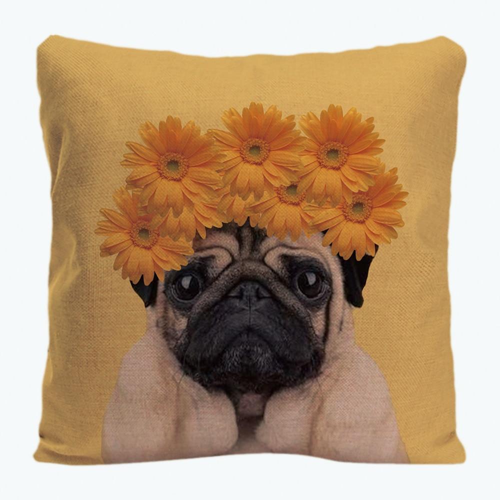 Cute Pug With Gloomy Face Printing Throw Pillowcases