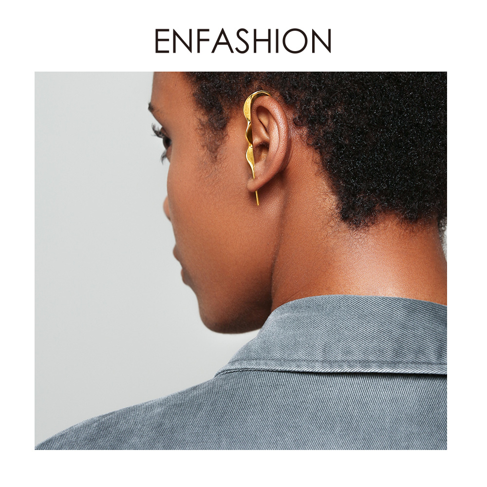 ENFASHION Punk Wave Simple Stud Earrings For Women Gold Color Statement Geometric Curve Earings Fashion Jewelry Oorbellen EC1070