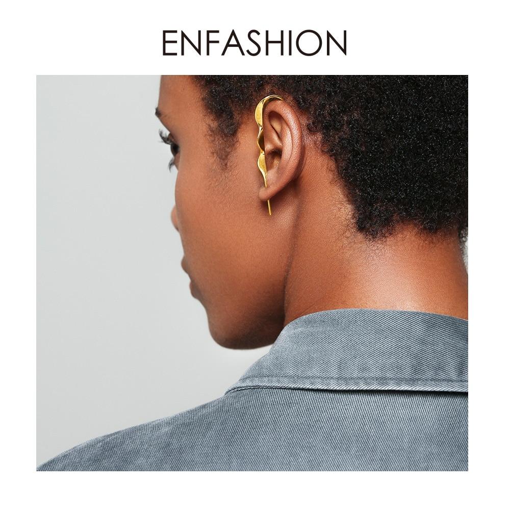 ENFASHION Punk Wave Simple Stud Earrings For Women Gold Color Statement Geometric Curve Earings Fashion Jewelry Oorbellen EC1070
