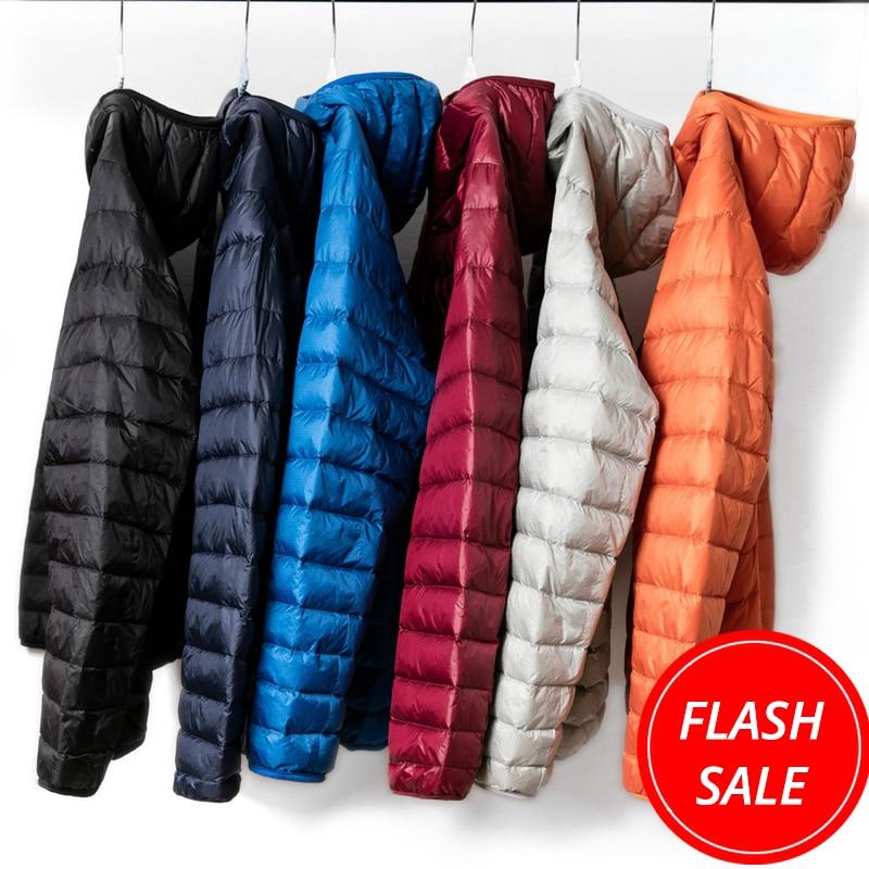 2019 Ultra Light Winter Fashion Brand Duck Down Jacket Men Hooded Waterproof Streetwear Feather Coat Packable Warm Men Clothing