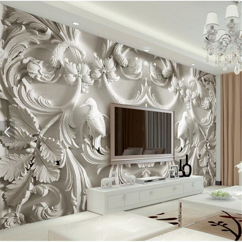 Beibehang Classic White European Style Relief 3d