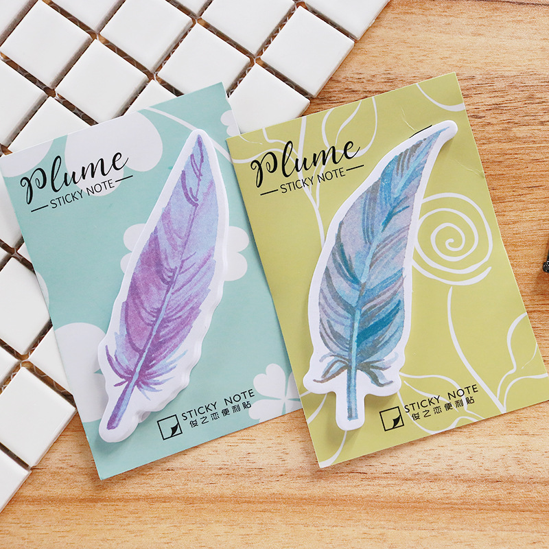 Creative stationery color feathers stickers posted N times posted 30 sheets sticky notes Memo pads cute office school supplies
