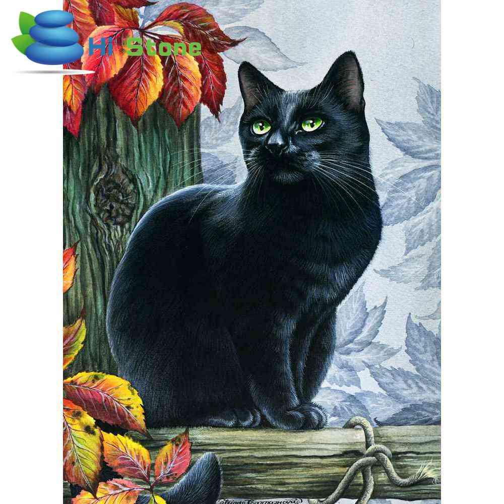 Украшения дома картины Полный Круглый дрель 5D DIY алмазной живописи Черный кот 3D Вышивка крестом Мозаика Декор подарок