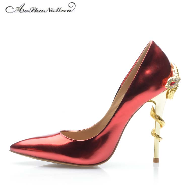 2018 newest Patent Leather High Heels 10cm Stilleto Sexy Pointed Toe Red Wedding Shoes Bride Snake heel Women Shoes 34-42 женские часы gc y33001l7