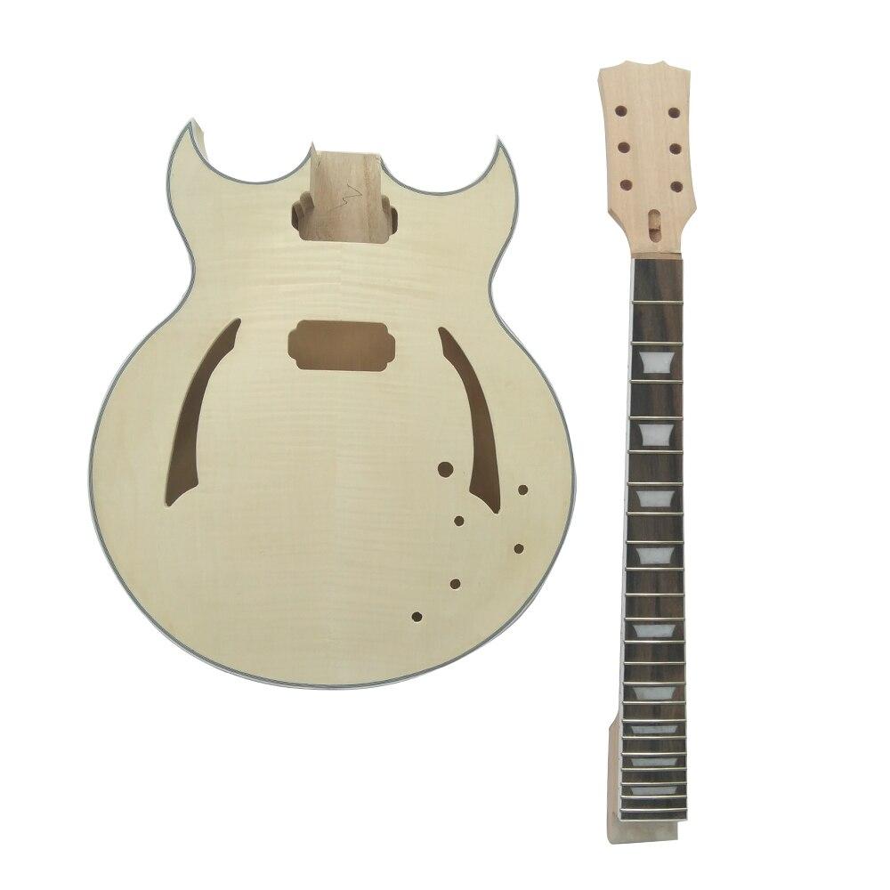 Haute qualité ammoon inachevé bricolage Kit de guitare électrique Semi creux tilleul corps palissandre touche érable cou - 4