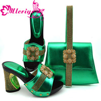 GFN1901 New Arrival Italian Ladies Shoes and Bags To Match Set Decorated with Rhinestone Nigerian Shoes and Matching Bags