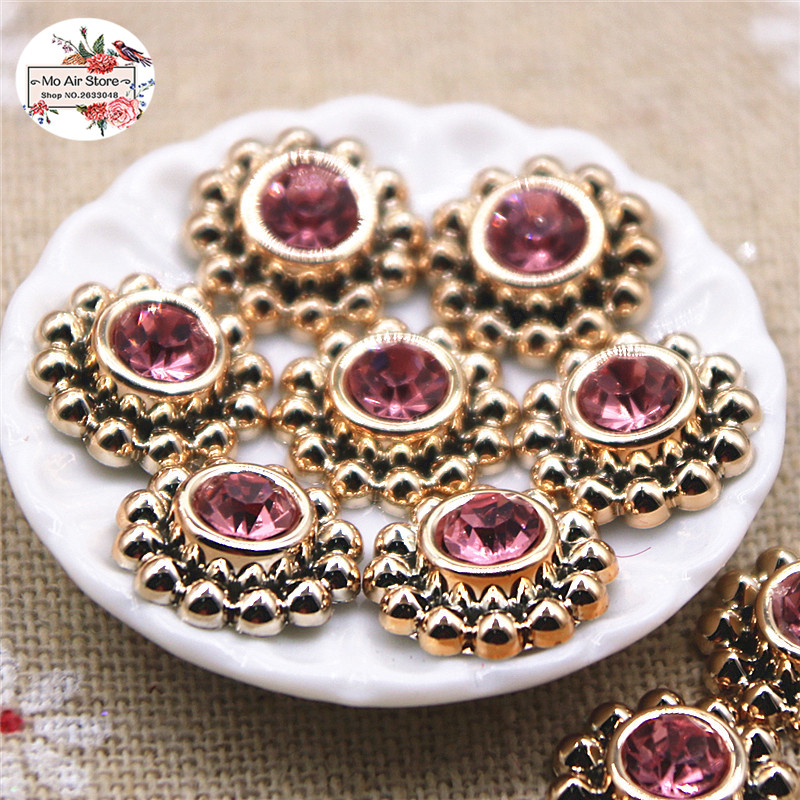 50pcs 14mm Shiny Pink Rhinestones Round Flower Buttons Home Garden Crafts Cabochon Scrapbooking DIY Accessories