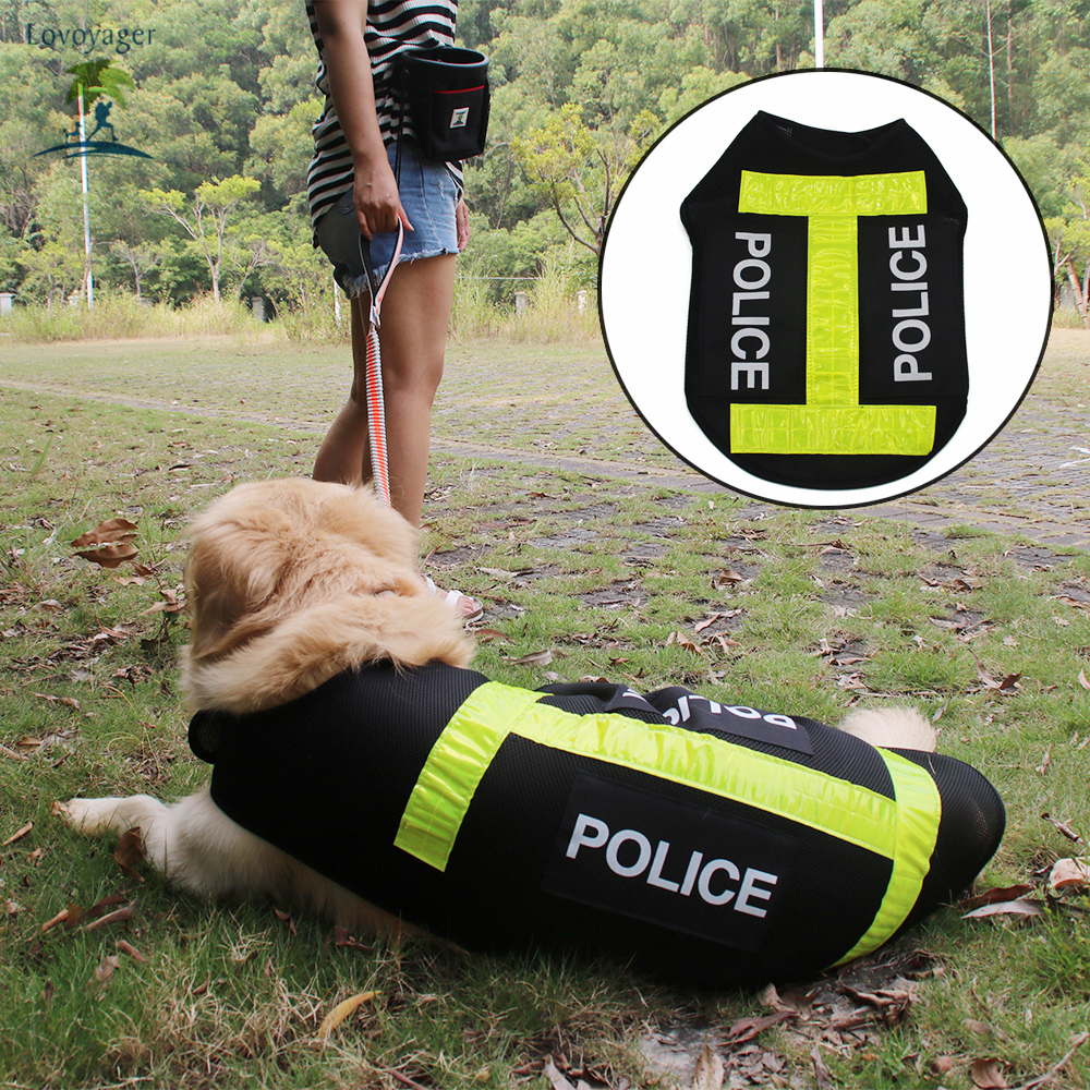 Self-Conscious Lovoyager Outdoor Pet Clothes Mesh Security Dog Harness Adjustable Safety Reflective Police Dog Vest Black S/m/l/xl Dog Vests