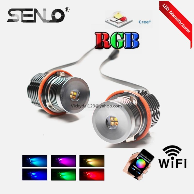hot prodej halo prsten rgb vedl Angel Eye e39 20W vedl marker canbus změna barvy ovládání telefonu pro BM W E87 E39 E60 E65 E53 e36 e46