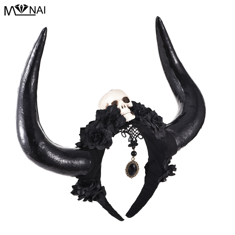 Unique Steampunk Black Veil Lacee Skull Roses Flowers Bull Horn Antler Goth Headband Halloween Fancy Dress Headpieces Gothic Cos