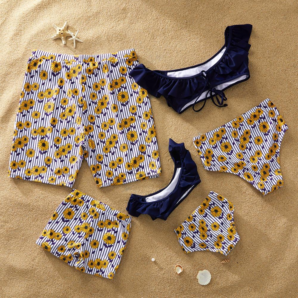 Summer Stripes Daisy Charm Family Matching Swimsuit Casual Print Comfort