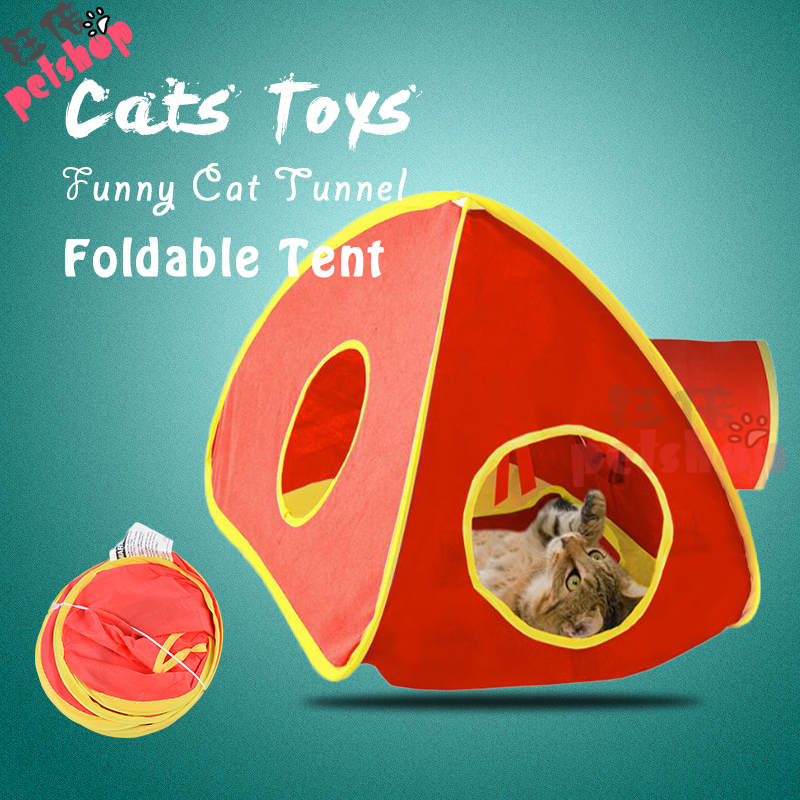 Fun et Cat Tunnel Tent Toy Foldable 3 Holes Pet Products Cat Supplies for Cat Toys Tunnels Outdoor Beds Mats Rabbit Play Game