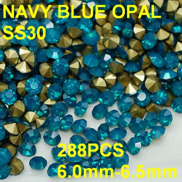 SS30 288pcs/lot 6.0mm-6.5mm Beauty and Healthy Blue Color Crystal Opal Rhinestone Golden Pointback Nail Jewelry Nail Decoration