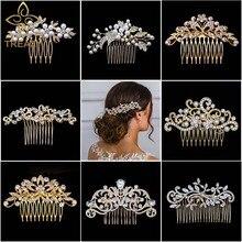 Peines de pelo de boda de Color dorado para mujeres, perlas encantadoras, Accesorios nupciales para el cabello de cristal, sombreros de fiesta de cumpleaños, tiara de novias