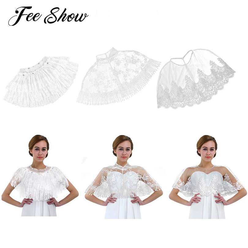Fashion Womens Bridal Wedding Shawl Wrap Embroidered Floral Lace Tulle Tassel Shrug Boleros Cape Capelet Wraps for Wedding Party
