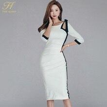 H Han Queen Sexy ContrastสีHollow Out BowตัดBacklessดินสอชุดผู้หญิง2018ฤดูใบไม้ร่วงSheath Bodycon Dress OL Vestidos