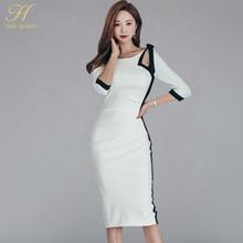 H Han Queen robe moulante, couleur contrastante, ajourée, avec nœud, dos nu, robe crayon, robe fourreau, automne 2018