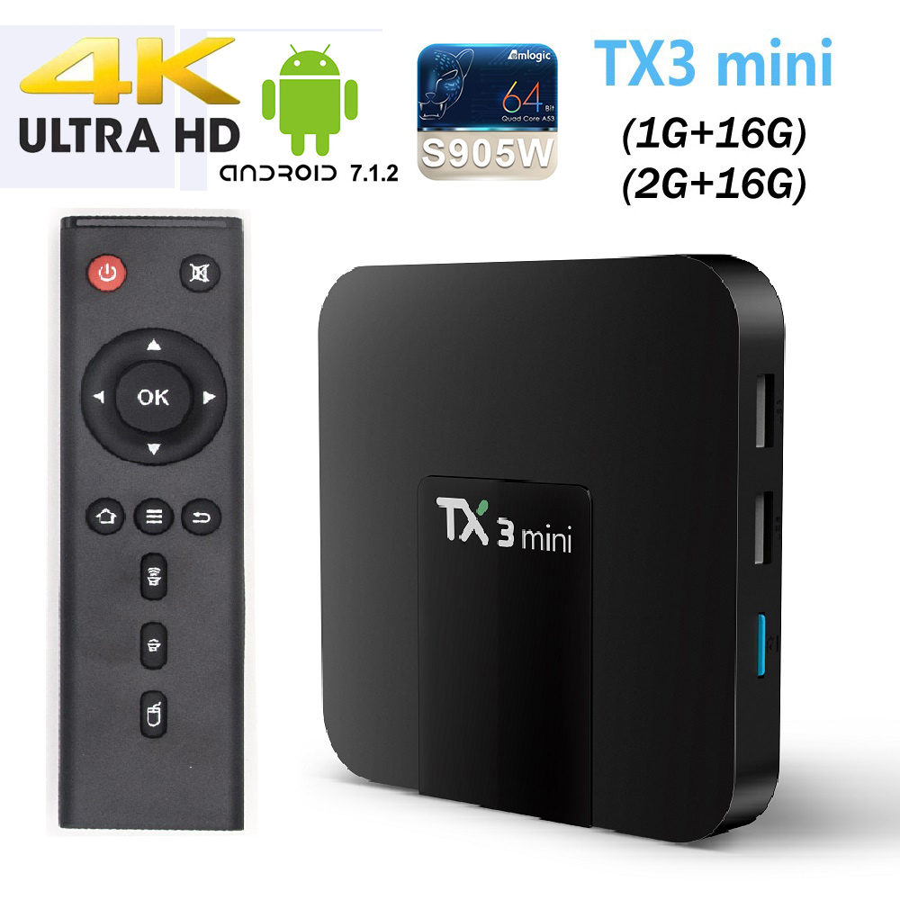 все цены на TX3 mini Smart TV BOX 1GB/1GB 2GB/16GB Android 7.1 Quad Core Amlogic S905W Support H.265 2.4G WiFi Media Player 4K TX3mini TVBOX онлайн