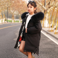 2019 New Girls Winter Down Jackets Korean Style Thicken Two Sided Wear Outerwear Coat For Teens Big Girl 5 16 Y Parkas Coat