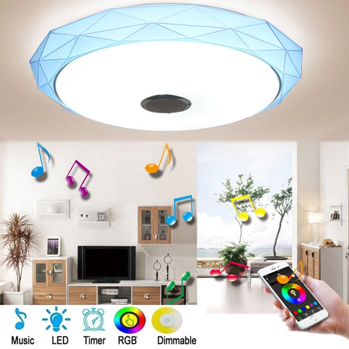 Bluetooth Lautsprecher Musik LED Decke Lichter RGB Dimmbare APP und Wand Schalter Steuerung Decke Lampe Schlafzimmer wohnzimmer Licht