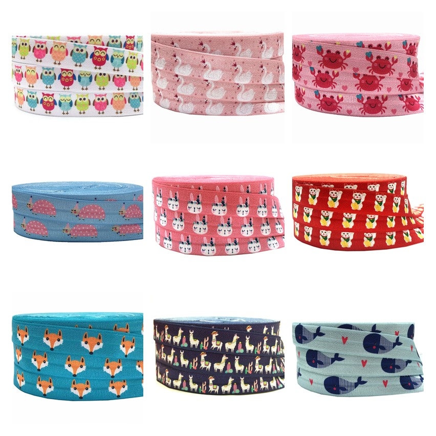 Llama Duck Fox Dog Print Fold Over Elastic Animal FOE Ribbon Headwear Party Gift Packing Sewing Home Decoration Accessories 5Y