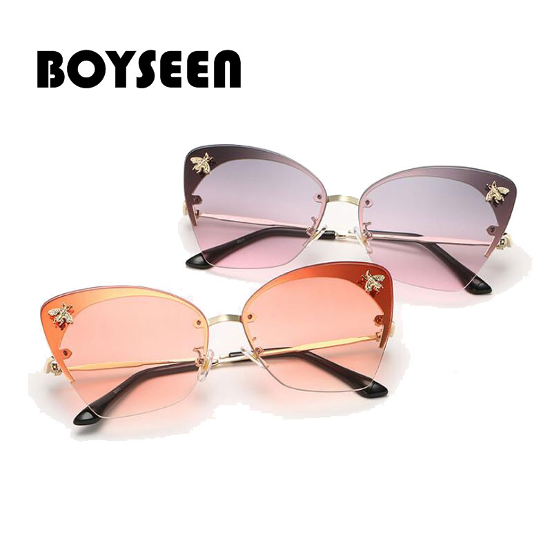BOYSEEN Small Bee Personality Vintage Metal Sunglasses Women 2018 Cat Eye Glasses for Women Luxury 2011