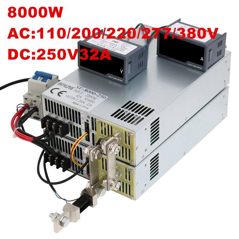 цена на 8000W 250V 32A 0-250V power supply 250V 32A AC-DC High-Power PSU 0-5V analog signal control DC250V 32A 110V 200V 220V 277VAC