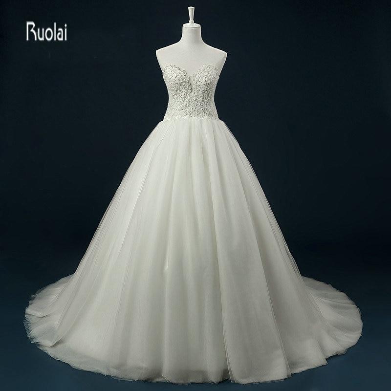2017 elegante tul vestido de bola vestidos de novia sin mangas cariño apliques rebordear vestido de novia vestido de novia vestido de noiva