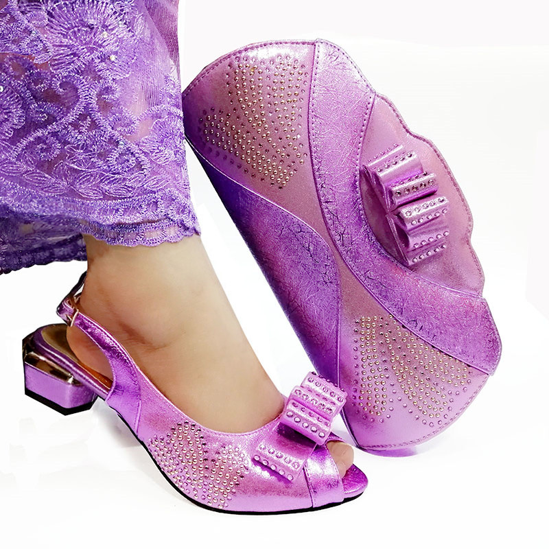 Fashion Lilac Color African Women Matching Italian Shoes and Bag Set Decorated with Rhinestone Italian Ladies