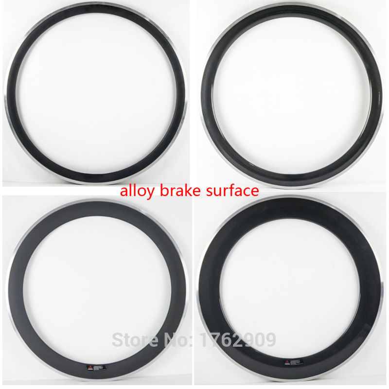 New 700C 50mm Road bike 3K carbon fibre bicycle clincher rim alloy brake surface