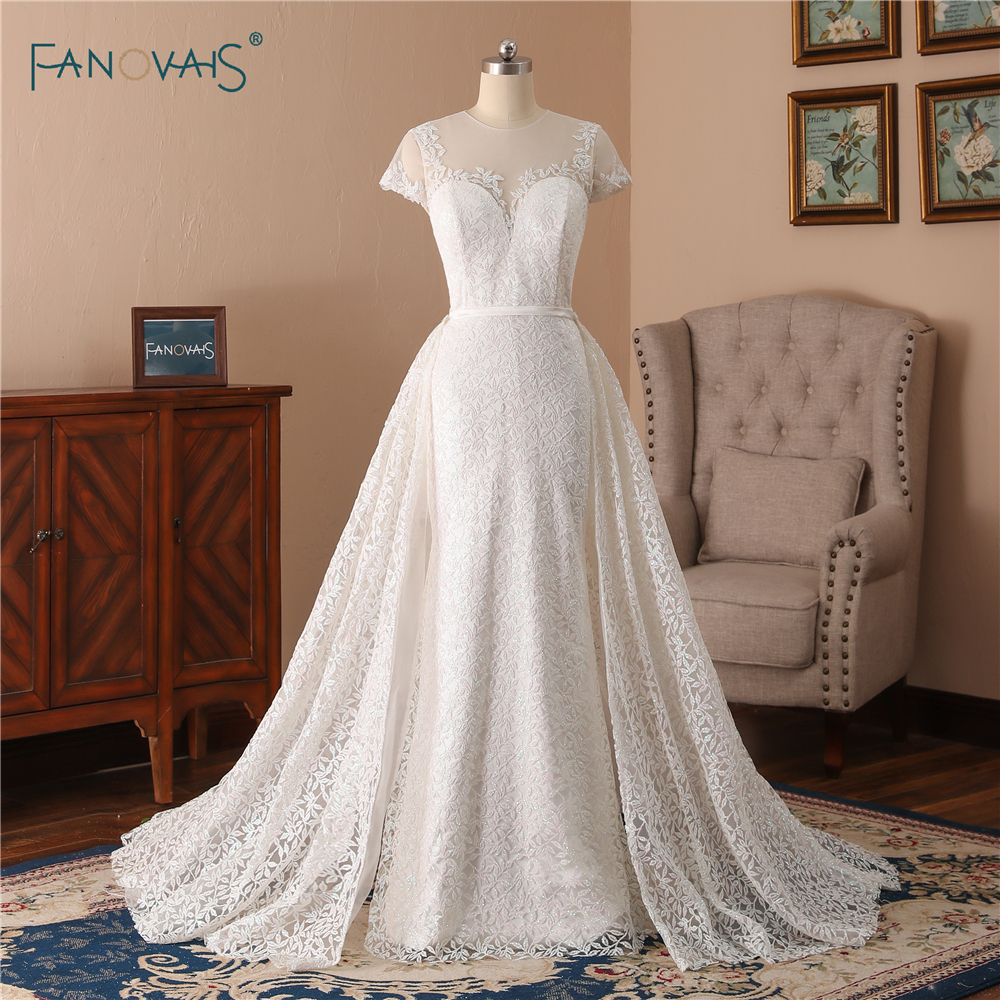 Cheap Mermaid Wedding Dresses Long Short Sleeve Shiny Lace
