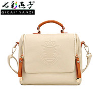 2016 Women Vintage Crown Shoulder Bag Crossbody Handbag Zippers PU Leather Fashion Free Shipping E809