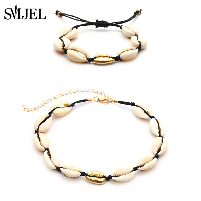 SMJEL Natural Shell Necklaces for Women Choker Collares Shell White Rope Chain Necklace Pendants Summer Beach Jewelry Gifts in Choker Necklaces from Jewelry Accessories