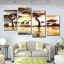 Hand painted African forest grassland giraffes landscape home Decor Oil Painting on canvas 4 piece artwork sets