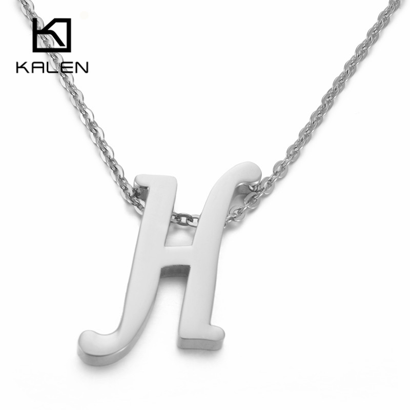 Kalen Capital Letter H Pattern Pendant Necklaces Women Men Stainless Steel  English Name Initial Letter H