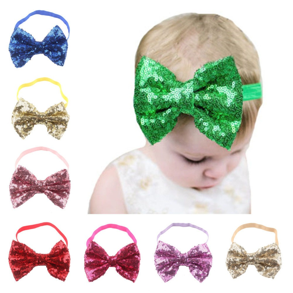 Retail  Sequin Bow Headband big bow with elastic hairband  hair accessories christmas drop shipping metting joura bohemian vintage black blue chiffon flower big double bow wide headband hairband hair accessories