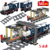 545PCS Technic City Train Passenger Platform Track Building Blocks legoingly City Train Series Figures Bricks Toys for Children