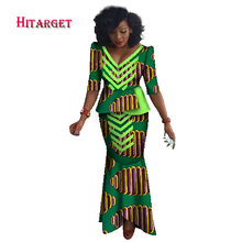 2017 African Skirt Set For Women Africa Traditional and Top Dashiki Pint Wax 2 Piece Suits Kanga Clothing WY1652