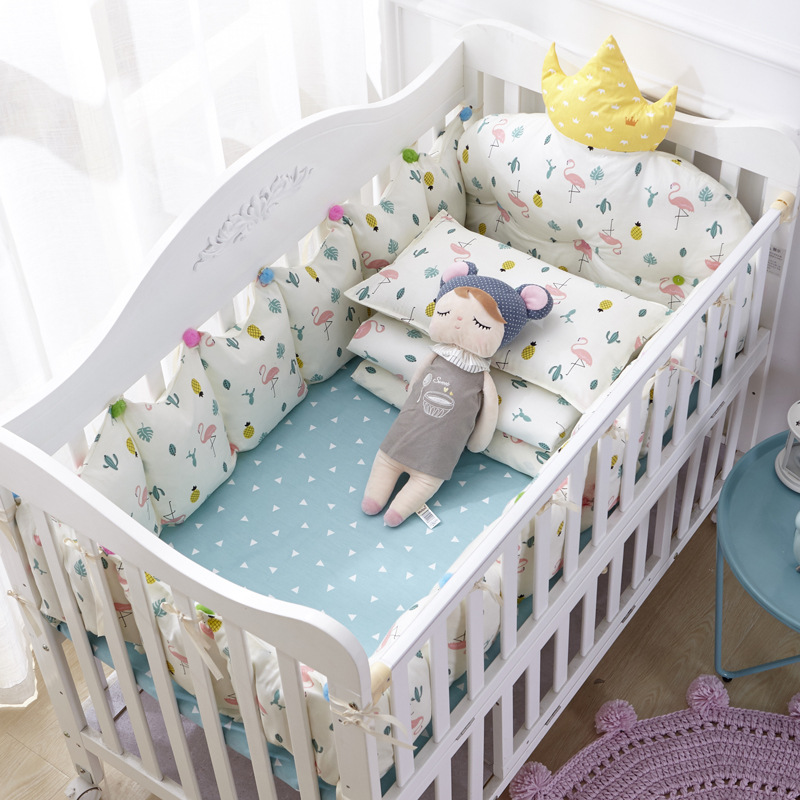 1 Cotton Crib Baby Bedding Nordic Style Children's Bumper Around Cot Removable And washable Baby Bed Protector Room Decoration (2)