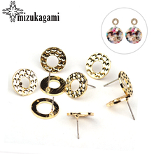 2017 Fashion 6pcs/lot Zinc Alloy Gold Round Circle Stud Earring Base Connectors Linker For DIY Earrings Jewelry Accessories