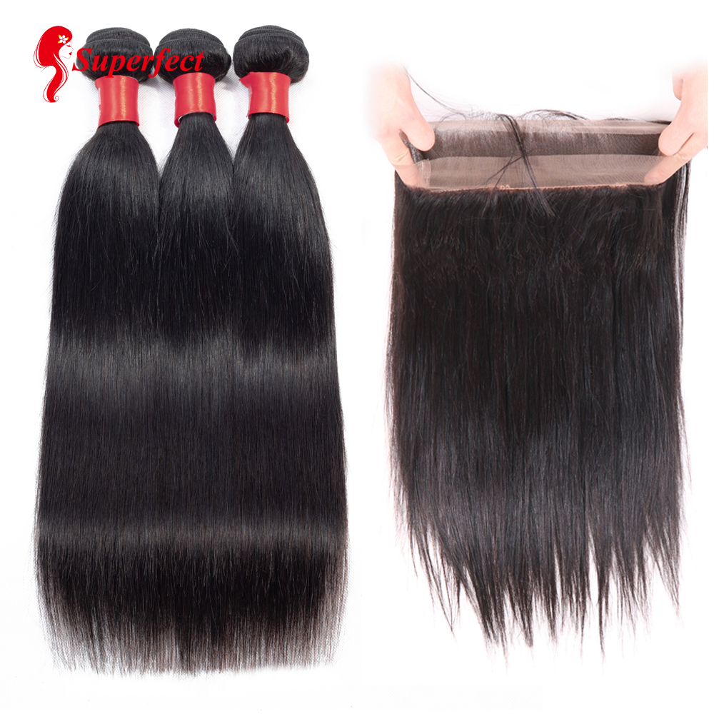 Superfect Brazilian Straight Hair 360 Lace Frontal With Bundle Human Hair 3 Bundles With Frontal Closure