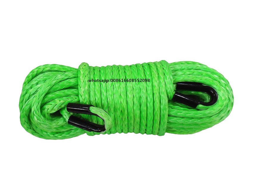 Green 12mm*45m ATV Winch Rope Extension,1/2Synthetic Winch Cable Rope,UHMWPE Rope