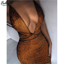 Sexy Women Gold Sequins Summer Dress beach 2018 Deep V neck Bandages Backless Sleeveless Luxury Nightclub Party Dresses vestido