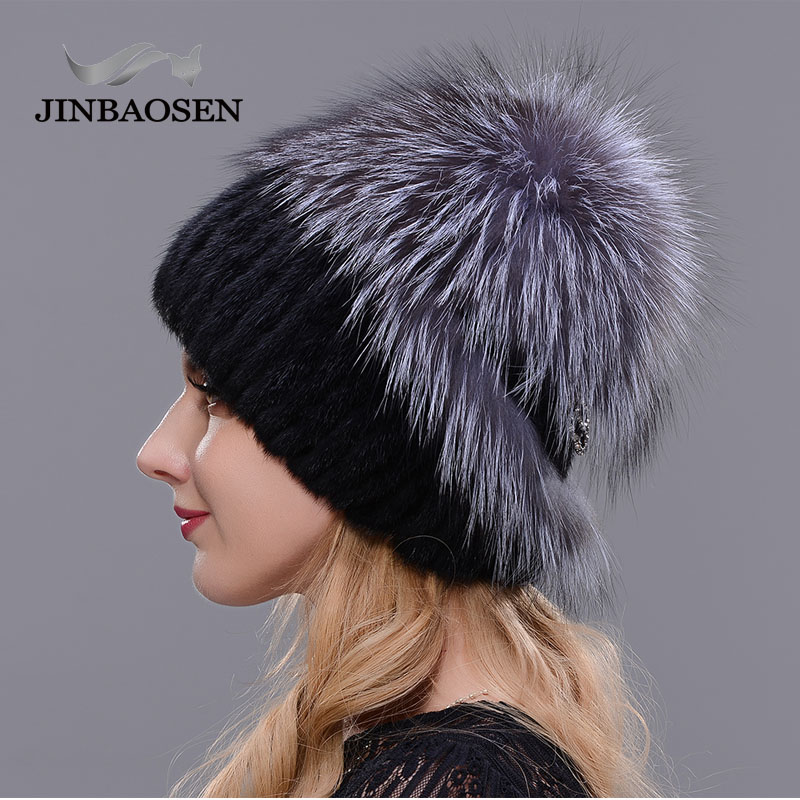 Image 5 - Russian fashionable mink fur fox hat woman winter warm fox knitted hat woman 2019 new natural fur and water drill Ski Hat-in Women's Skullies & Beanies from Apparel Accessories