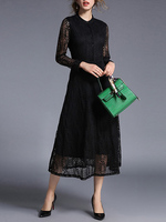New Arrival Women High Waist Elegant Party Band Collar Long Sleeve Hollow Out Fit And Flare