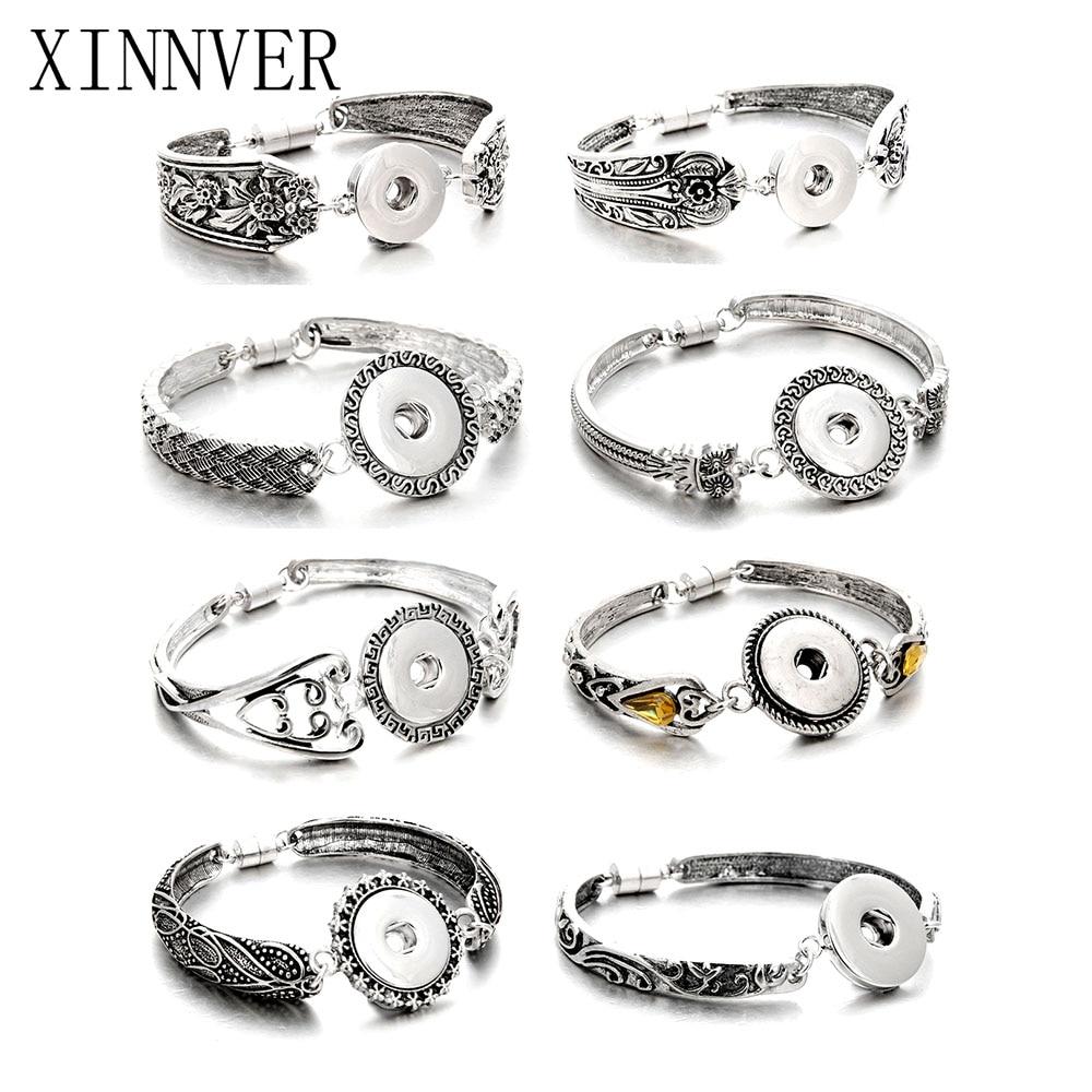 Hot Sale Snap Jewelry Silver 18mm Snap Buttons Bracelet ...