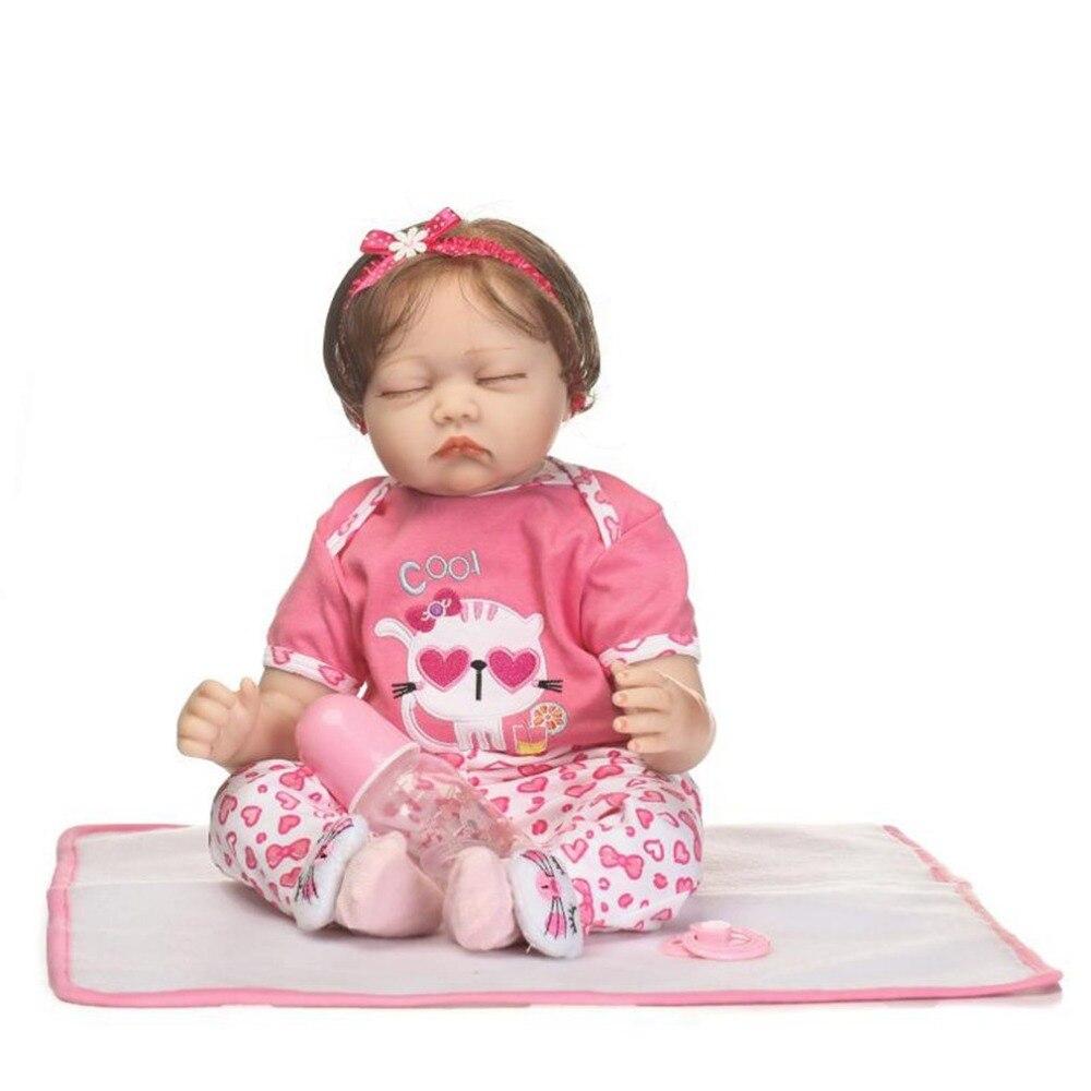 купить NPK 55CM Soft Silicone Reborn Baby Doll Toys Handmade Lifelike Sleeping Reborn Baby Dolls Fashion Birthday Gifts for Children по цене 5145.5 рублей
