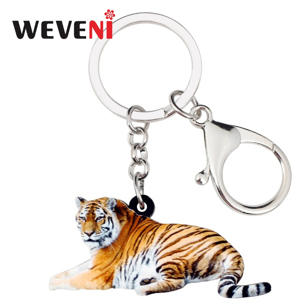 WEVENI Acrylic Original Jungle Tiger Key Chains Keychains Rings Wild Animal Jewelry For Women Girls Holder Party Charms Pendant